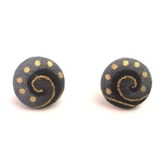Fabric Button Earrings in Gold, Grey and Black, Surgical Stainless Steel Earring