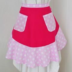 Half Apron - Pink Polka Dots