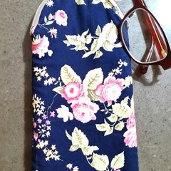 Navy floral Glasses case