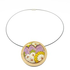 Circular Timber Pendant - Purple and Mustard Blossom