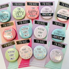Assorted Positivity Pin Button Badges, Pin Badge, Metal Pin Button