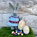 Lucy the Knitted Bunny Rabbit Toy with Teal Blue Heart Dress and Easter Bonnet