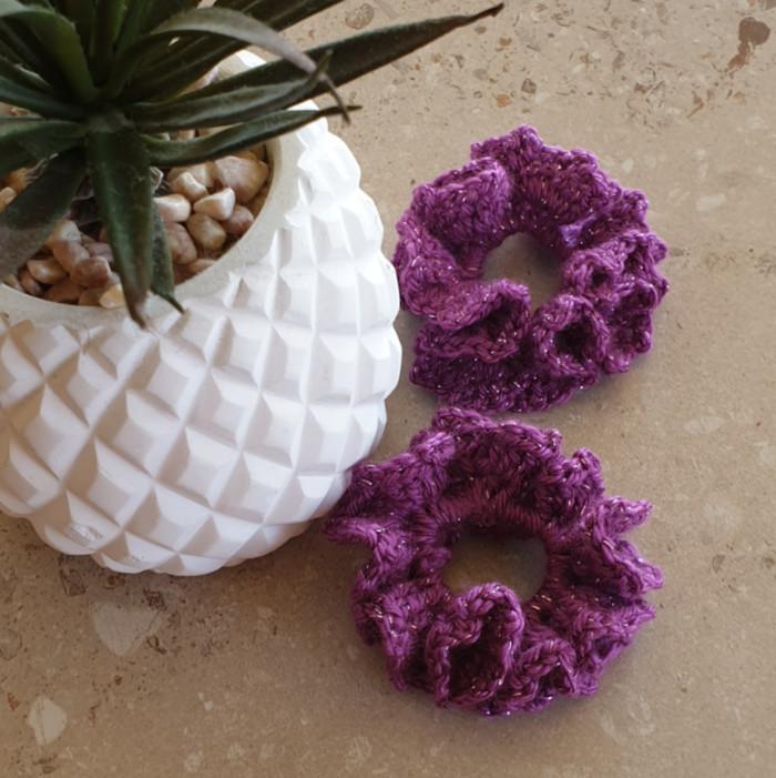 Shimmery Crochet Scrunchie