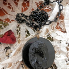 Reproduction, Antique Pendant. Black Cameo and chain.