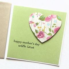 Mother's Day card | Pretty Floral Heart on Green | Mum Oma Nanna Nanny Grandma