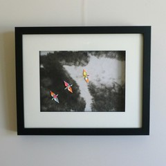 A Brand New Day - original ink painting and origami cranes