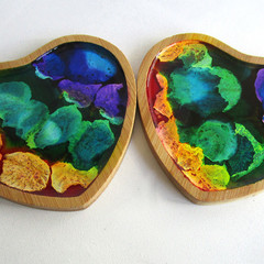 RESIN  HEART Coasters x 2