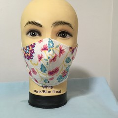 Fashion Mask  White / Pink-Blue Floral