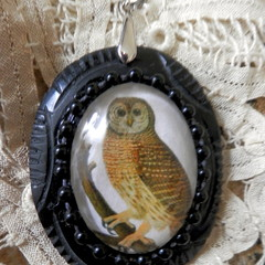 Reproduction, Antique pendant and chain. Owl