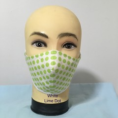 Fashion Mask  White / Lime Dot