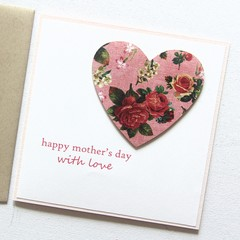 Mother's Day card | Vintage Rose Floral Heart | Mum Oma Nanna Nanny Grandma