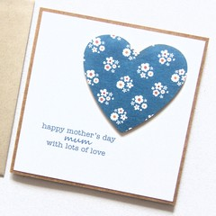 Mother's Day card | Blue Denim Floral Heart | Mum