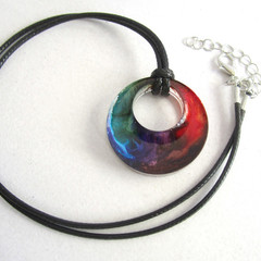 Resin Rainbow Round Pendant