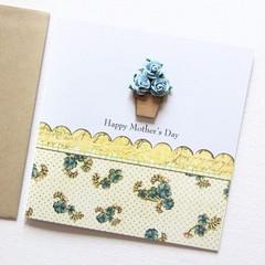 Mother's Day card   Blue Paper Roses Bamboo Vase   Mum Oma Nanna Nanny Grandma