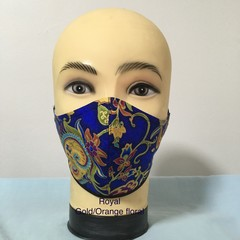 Fashion Mask  Royal/Gold - Orange Floral