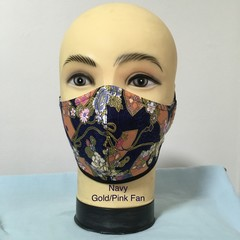 Fashion Mask  Navy / Gold-Pink Fan