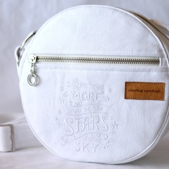 Canvas round crossbody bag