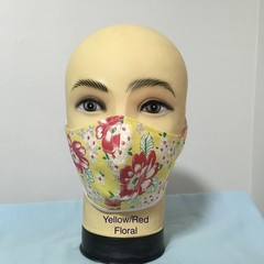 Fashion Mask  Yellow / Red Floral
