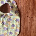 bib - green wombat echidna / organic cotton hemp fleecy / baby toddler