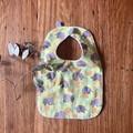 bib - green wombat echidna / organic cotton hemp fleecy / baby toddler