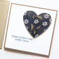 Mother's Day Card, Daisies Floral Heart, Mum Oma Nanna Nanny Grandma