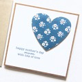 Handmade Mother's Day Card, Blue Denim Floral Heart, Happy Mother's Day Card