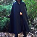 Wool Blend Cloak Medium Length Black