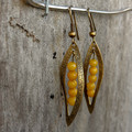 Leaf and Yellow Stone Earrings