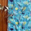burp cloth - rainforest birds / organic cotton hemp / eco friendly /  turquoise