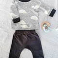 Newborn Baby Toddler Whale Print Sweatshirt Jersey Jumper with jogger pants
