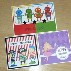 Set 3 Happy Birthday cards - robots pirates and princess - FREE POST