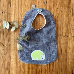 bib - green wombat / indigo hemp denim / eco friendly organic cotton hemp fleecy