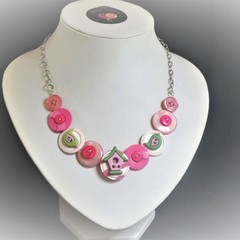 Girl's Pink Button necklace - Pink Birdhouse