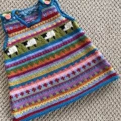 Turquoise  'Sheep' Pinafore - size 6 months - hand knitted in pure wool