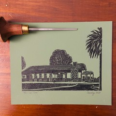 Lord Somers Camp -  Green Mini Mess Hut - Edition of 100 - Linoprint