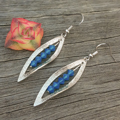Silver Leaf with Opaque Blue Swarovski crystals