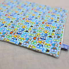 wash cloth - little owls blue / organic cotton hemp fleece / zero waste
