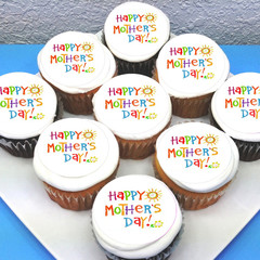 Mothers Day Mum Edible Icing Cupcake Toppers - Pre-cut Sheet of 15 - EI001C