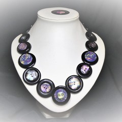 Black button necklace - Black Opal