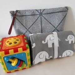 GREY ELE -  Nappy Change Mat Plus Bag Option