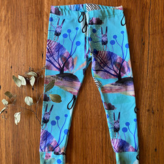 leggings pants girl unisex boy gift / aqua purple / eco friendly organic cotton