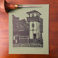Lord Somers Camp -  Green Mini Slush Hut - Edition of 100 - Linoprint