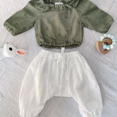 Baby Girl Boy Bunny Floral Two Piece Outfit top with harem pants
