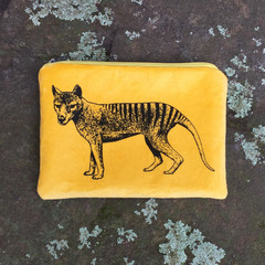 Screen printed Tasmanian tiger purse
