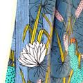 dress - cactus garden / organic cotton peasant-style dress / denim green indigo