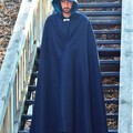 Long Black Wool Blend Cloak