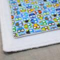 wash cloth - little owls blue / organic cotton hemp fleece / zero waste