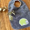bib - green wombat / indigo hemp denim / eco friendly organic cotton hemp fleecy
