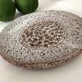 Pottery Kitchen Zester/Grater - White Speckle Glaze