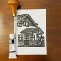 Lord Somers Camp -  Mini Haddon Hall - Edition of 100 - Linoprint